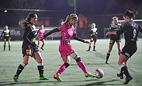 Ludmila Matavkova (9 Charleroi) pictured in between Aalst's Valentine Hannecart and Aalst's Annelies Van Loock during a female soccer game between Sporting Charleroi and Eendracht Aalst on the 8th  matchday of the 2020 - 2021 season of Belgian Scooore Womens Super League , friday 20 th of November 2020  in Marcinelle , Belgium . PHOTO SPORTPIX.BE | SPP | DAVID CATRY