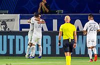 CARSON, CA - SEPTEMBER 06: Sebastian Lletget #17 of the Los Angeles Galaxy scores a goal and celebrates with team mate Cristian Pavon #10 during a game between Los Angeles FC and Los Angeles Galaxy at Bank of California stadium on September 06, 2020 in Carson, California.