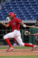 April 12, 2010 Outfielder D'Arby Myers of the Clearwater Threshers, Florida State League Class-A affiliate of the Philadelphia Phillies, during a game at Bright House Networks Field in Clearwater Fl. Photo by: Mark LoMoglio/Four Seam Images