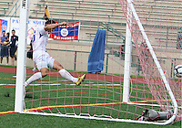 Antonio Ribeiro #26 of the Montrteal Impact blasts the ball into the net during an NASL match against Crystal Palace Baltimore at Paul Angelo Russo Stadium in Towson, Maryland on August 21 2010. Montreal won 5-0.