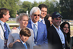August 2, 2015. Bob and Jill Baffert, and their son Bode, assemble on the track with other connections of American Pharoah after he wins the  Grade I William Hill Haskell Invitational Stakes, one and 1/8 miles on the dirt  for three year olds at Monmouth Park in Oceanport, NJ. Bob Baffert is trainer; Ahmed Zayat is owner. Joan Fairman Kanes/ESW/CSM
