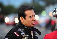 Nov. 12, 2011; Pomona, CA, USA; NHRA funny car driver Tony Pedregon during qualifying at the Auto Club Finals at Auto Club Raceway at Pomona. Mandatory Credit: Mark J. Rebilas-.