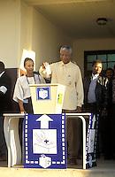 Nelson Mandela votes at Ohlange High School.