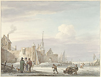 City Scene in Winter - by Martinus Schouman, 1780 - 1848