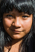 Ngoiwere Village, Mato Grosso State, Brazil. Kisedje (Suya), young woman with an enigmatic smile.
