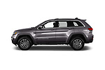 Car Driver side profile view of a 2019 JEEP Grand-Cherokee Laredo-E 5 Door SUV Side View