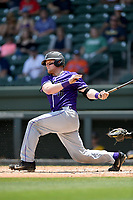 Catcher Cameron Whitehead (16) of the Furman Paladins bats in a game against the UNC Greensboro Spartans at the Southern Conference Baseball Championship on Saturday, May 27, 2017, at Fluor Field at the West End in Greenville, South Carolina. UNCG won, 12-8. (Tom Priddy/Four Seam Images)