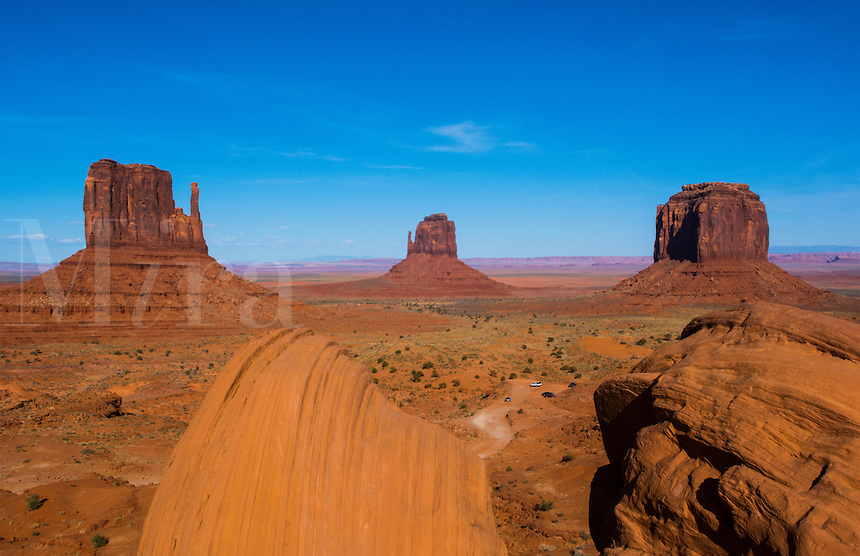 Monument Valley Utah desert mittens in panoramic of Western landscape at sunset Natioanal Park