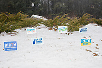 Campaign signs for democratic presidential candidates Biden, Warren, Sanders, Patrick, and Buttigeig, are seen in a snowbank near Bedford, New Hampshire, on Tue., Feb. 11, 2020.