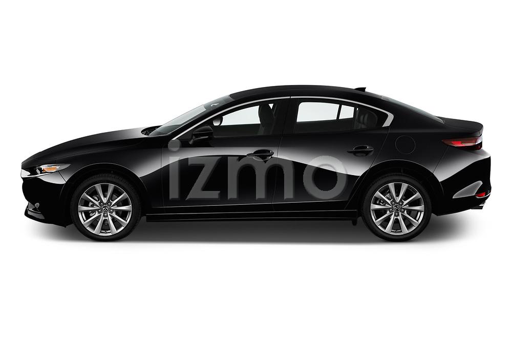Car Driver side profile view of a 2019 Mazda Mazda-3 Preferred-Package 4 Door Sedan Side View