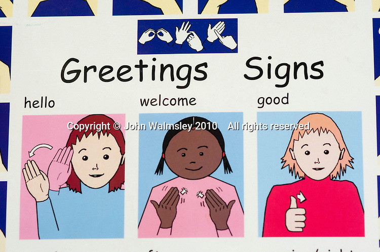 Poster showing various BSL signs, Hearing Resource Base, state secondary school.