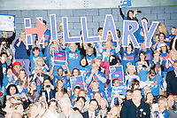 """Campaign volunteers hold up large letters spelling """"Hillary"""" as former president Bill Clinton enters the room before former Secretary of State and Democratic presidential candidate Hillary Rodham Clinton speaks at a rally at Nashua Community College in Nashua, New Hampshire, on Tues. Feb. 2, 2016. Former president Bill Clinton also spoke at the event. The day before, Hillary Clinton won the Iowa caucus by a small margin over Bernie Sanders."""