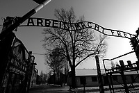 Auschwitz / Poland 2011.The main gate of the German Nazi concentration camp Auschwitz I with the motto 'Arbeit macht frei' ('work brings freedom') in Oswiecim, Poland..Photo Livio Senigalliesi