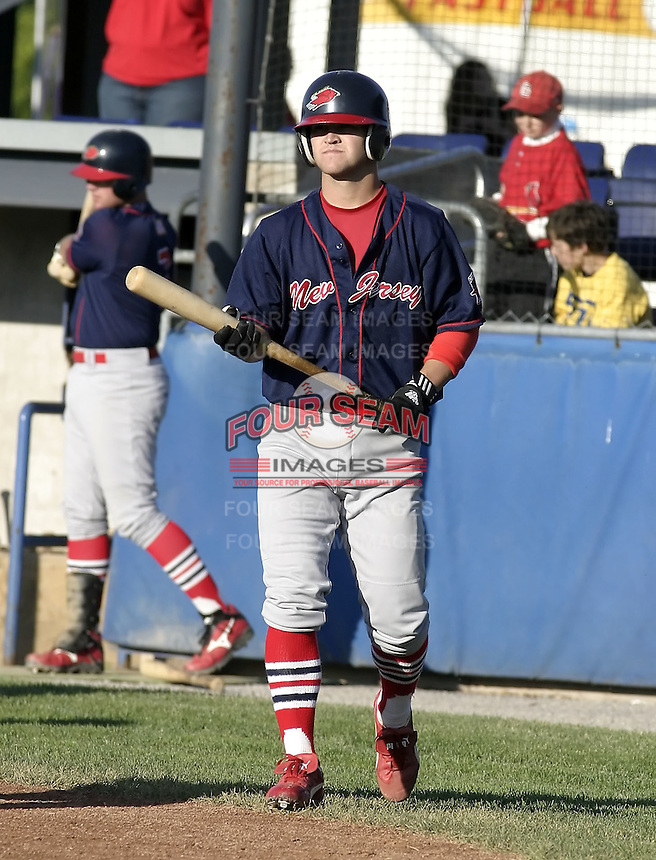 June 23, 2004:  Jarrett Hoffpauir of the New Jersey Cardinals, Short-Season Low-A NY-Penn League affiliate of the St. Louis Cardinals, during a game at Dwyer Stadium in Batavia, NY.  Photo by:  Mike Janes/Four Seam Images