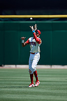 Clearwater Threshers right fielder Jose Pujols (23) catches a fly ball during a game against the Jupiter Hammerheads on April 11, 2018 at Spectrum Field in Clearwater, Florida.  Jupiter defeated Clearwater 6-4.  (Mike Janes/Four Seam Images)