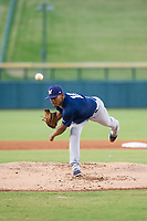 AZL Brewers starting pitcher Wilfred Salaman (16) follows through on a pitch during a game against the AZL Cubs on August 6, 2017 at Sloan Park in Mesa, Arizona. AZL Cubs defeated the AZL Brewers 8-7. (Zachary Lucy/Four Seam Images)