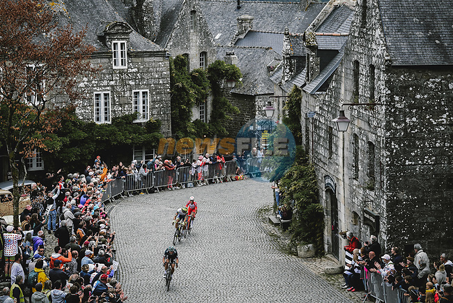 Ide Schelling (NED) Bora-Hansgrohe, Danny Van Poppel (NED) Intermarché-Wanty-Gobert Matériaux, and Anthony Perez (FRA) Cofidis in the breakaway during Stage 1 of the 2021 Tour de France, running 197.8km from Brest to Landerneau, France. 26th June 2021.  <br /> Picture: A.S.O./Pauline Ballet | Cyclefile<br /> <br /> All photos usage must carry mandatory copyright credit (© Cyclefile | A.S.O./Pauline Ballet)