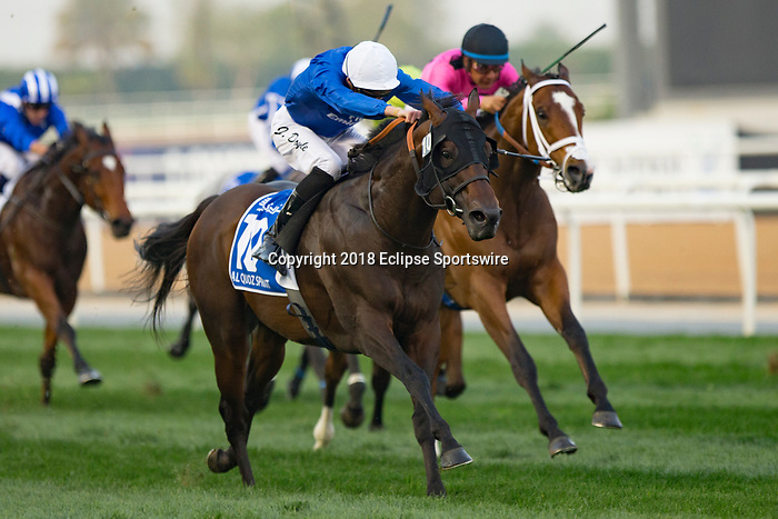 DUBAI,UNITED ARAB EMIRATES-MARCH 31: Jungle Cat,ridden by James Doyle,wins the Al Quoz Sprint at Meydan Racecourse on March 31,2018 in Dubai,United Arab Emirates (Photo by Kaz Ishida/Eclipse Sportswire/Getty Images)