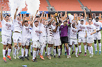 Houston, TX - Friday December 11, 2016: The Stanford Cardinal celebrate after winning the College Cup against the Wake Forest Demon Deacons at the NCAA Men's Soccer Finals at BBVA Compass Stadium in Houston Texas.