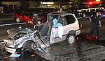 A South Carson City man was killed just after 10 p.m. Friday night after the motorcycle he was driving was involved in a three-car accident on Highway 395 just north of Clearview. Officials on the scene said the silver SUV was travelling north in the southbound lanes and crashed into a sedan and the motorcyclist. Several people in both cars were injured and taken by three helicopters to Reno hospitals. The Nevada Highway Patrol is still investigating the accident which closed the highway for hours. .Photo by Cathleen Allison/NevadaPhotoSource.com