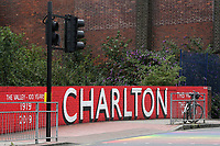 A wall near the Charlton ground has been painted to commemorate 100 years at The Valley from 1919 to 2019 during Charlton Athletic vs Wigan Athletic, Sky Bet EFL Championship Football at The Valley on 18th July 2020