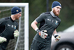 St Johnstone Training….29.01.19    McDiarmid Park<br />Keeper Zander Clark pictured during training ahead of tomorrow's game at Celtic with Mark Hurst<br />Picture by Graeme Hart.<br />Copyright Perthshire Picture Agency<br />Tel: 01738 623350  Mobile: 07990 594431