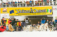 Musher Wayne Hall in Fairbanks on the Chena River at the start of the 1000 mile Yukon Quest sled dog race 2006, between Fairbanks, Alaska and Whitehorse, Yukon. Dubbed the toughest dogsled race in the world.