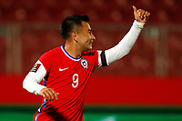 13th November 2020; National Stadium of Santiago, Santiago, Chile; World Cup 2020 Football qualification, Chile versus Peru;  Jean Meneses of Chile with a thumbs up to his team mate