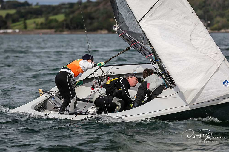 Ger Owens (left) sailing with Ross Killian (centre) took three wins in their flight at the All Ireland Sailing Championships at Royal Cork Yacht Club. Scroll down for photo gallery