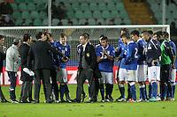 """Devis Mangia con i giocatori.Siena 13/11/2012 Stadio """"Franchi"""".Football Calcio Nazionale U21.Italia v Spagna.Foto Insidefoto Paolo Nucci."""