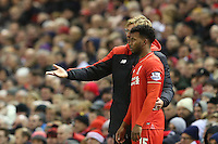 Liverpool Manager Jurgen Klopp issues instructions as he stands in the technical area Daniel Sturridge during the Barclays Premier League Match between Liverpool and Swansea City played at Anfield, Liverpool on 29th November 2015