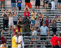 Malden, Massachusetts - June 26, 2016:  In a National Premier Soccer League (NPSL) match, Boston City FC (white) defeated Rhode Island Reds FC (red/yellow), 3-2, at Brother Gilbert Stadium on Donovan Field.<br /> Celebrate a goal.