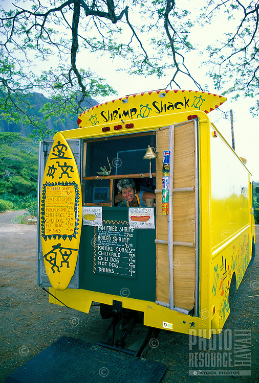 """EDITORIAL ONLY. """"""""Shrimp shack."""""""" Lunchwagon selling locally grown seafood. North Shore Oahu"""