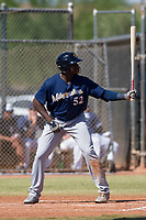 Milwaukee Brewers outfielder Demi Orimoloye (52) at bat during an Instructional League game against the San Diego Padres on September 27, 2017 at Peoria Sports Complex in Peoria, Arizona. (Zachary Lucy/Four Seam Images)