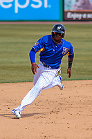 Wisconsin Timber Rattlers outfielder Monte Harrison (3) races to third during a Midwest League game against the Quad Cities River Bandits on April 9, 2017 at Fox Cities Stadium in Appleton, Wisconsin.  Quad Cities defeated Wisconsin 17-11. (Brad Krause/Four Seam Images)