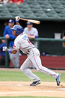 Round Rock Express outfielder Endy Chavez #5 at bat during a game versus the Memphis Redbirds at Autozone Park on April 30, 2011 in Memphis, Tennessee.  Memphis defeated Round Rock by the score of 10-7.  Photo By Mike Janes/Four Seam Images