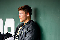 Vanderbilt Commodores starting pitcher Jack Leiter (22) watches from the dugout during the game against the Tennessee Volunteers on Robert M. Lindsay Field at Lindsey Nelson Stadium on April 17, 2021, in Knoxville, Tennessee. (Danny Parker/Four Seam Images)