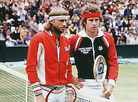 3rd July 1980. Wimbledon, London England.  John McEnroe (USA) and Bjorn Borg (SWE) pose together on court at the Wimbledon 1980 singles final prior to Borg's win over McEnroe, All England Championships.