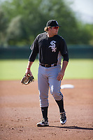 Chicago White Sox third baseman Jake Burger (18) during an Instructional League game against the Los Angeles Dodgers on September 30, 2017 at Camelback Ranch in Glendale, Arizona. (Zachary Lucy/Four Seam Images)