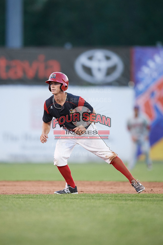 Batavia Muckdogs left fielder Mathew Brooks (46) leads off second base during a game against the Auburn Doubledays on June 19, 2017 at Dwyer Stadium in Batavia, New York.  Batavia defeated Auburn 8-2 in both teams opening game of the season.  (Mike Janes/Four Seam Images)