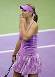 Russia's Maria Sharapova celebrates after winning her WTA Madrid Masters Series Tennis match against Russia's Svetlana Kuznetsova at Madrid Arena, Friday 10 November, 2006. (ALTERPHOTOS/Alvaro Hernandez).