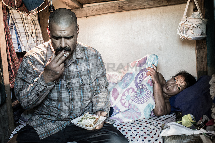 Many of the deported migrants end with drug addiction. Access to cheap drugs, such as crystal meth and heroine, is easy. Many succumb to drug addiction to cope with the loneliness, lack of jobs and the unacceptable conditions their lives have become.  Tijuana, Mexico. Jan 06, 2015.