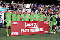 Australia celebrate winning the Plate Final during the iRB Marriott London Sevens at Twickenham on Sunday 13th May 2012 (Photo by Rob Munro)
