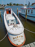 "Chesapeake Bay Maritime Museum, St. Michaels, Maryland<br /> Stern view of the historic 1934 wood oyster boat ""Martha"""