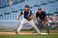 Pensacola Blue Wahoos first baseman Ray Chang (7) during a game against the Mississippi Braves on May 27, 2015 at Trustmark Park in Pearl, Mississippi.  Pensacola defeated Mississippi 7-5 in fourteen innings.  (Mike Janes/Four Seam Images)