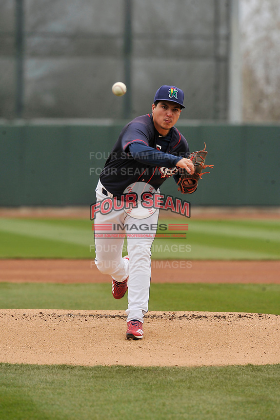 Cedar Rapids Kernels starting pitcher Andrew Cabezas (21) throws a pitch against the Burlington Bees at Veterans Memorial Stadium on April 14, 2019 in Cedar Rapids, Iowa.  The Bees won 6-2.  (Dennis Hubbard/Four Seam Images)