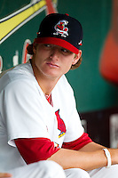 Shelby Miller (26) of the Springfield Cardinals sits in the dugout during a game against the Northwest Arkansas Naturals at Hammons Field on July 31, 2011 in Springfield, Missouri. Northwest Arkansas defeated Springfield 9-1. (David Welker / Four Seam Images)
