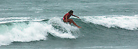 Saturday, June 14, 2008, Tourmaline Surf Park, Pacific Beach, San Diego, CA, USA.  Mele Salli hangs five during the womens final of the Pacific Beach Surf Club's Tenth Annual Longboard Classic at Tourmaline Surfing Park.  Salli went on to win the final and the Jnr Women's Title.  The event was well attended despite gray, June gloom clouds and fickle, windy surf conditions.