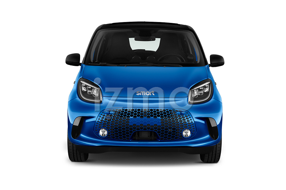 Car photography straight front view of a 2020 Smart EQ-forfour Comfort-Plus 5 Door Hatchback Front View