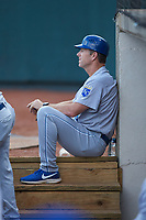 Burlington Royals manager Chris Widger (16) watches from the dugout during the game against the Pulaski Yankees at Calfee Park on September 1, 2019 in Pulaski, Virginia. The Royals defeated the Yankees 5-4 in 17 innings. (Brian Westerholt/Four Seam Images)